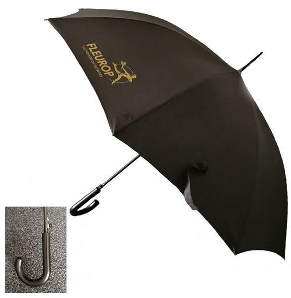 Regenschirm, schwarz mit goldenem Fleurop-Logo