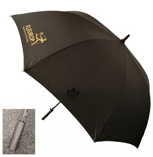 Golf-Schirm, schwarz mit goldenem Fleurop-Logo