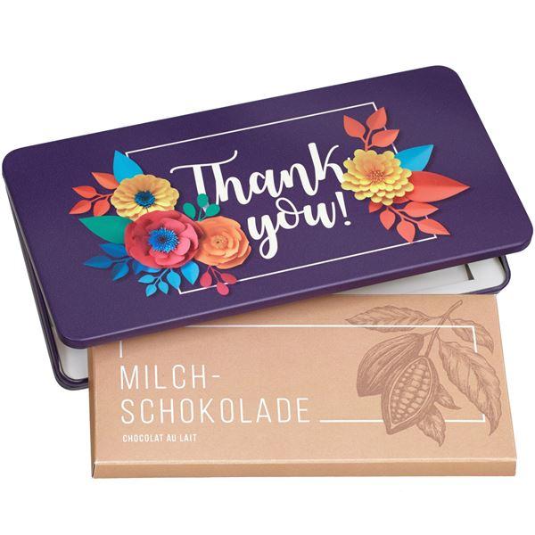 """Milchschokolade von Munz in Geschenkdose """"Thank you"""""""