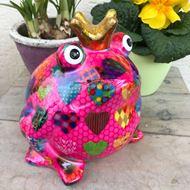Cooler Keramik Frosch Pink mit Herz