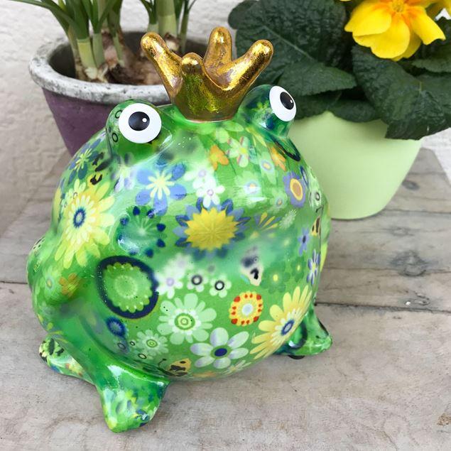 Bild von Cooler Keramik-Frosch, Grün mit Blumenmotiv