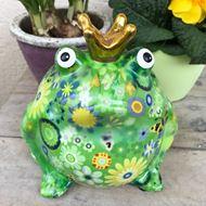 Image sur Grenouille sympa en céramique, verte avec motif floral