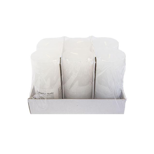 Kerzen, weiss, durchgefärbt,Ø 7 cm, H15 cm, 6 Stk.