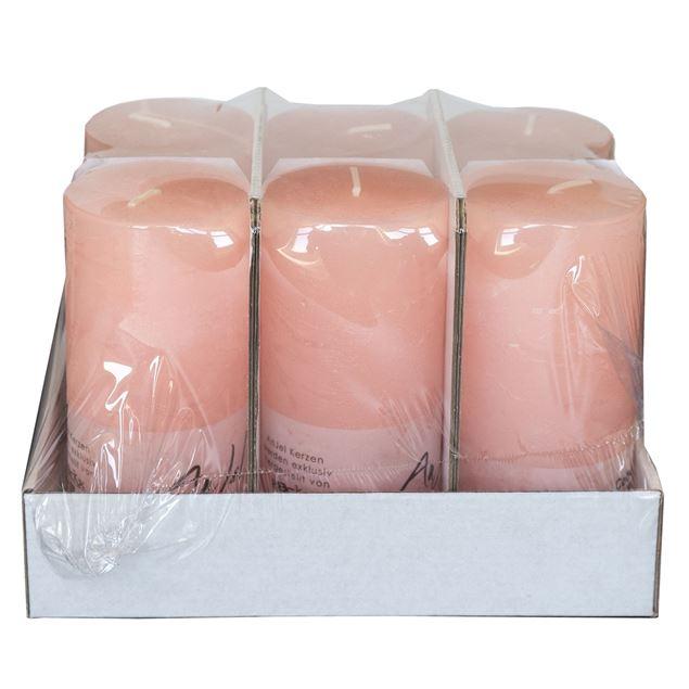 Kerzen, lachsfarben, durchgefärbt, Ø 7 cm, H15 cm, 6 Stk.