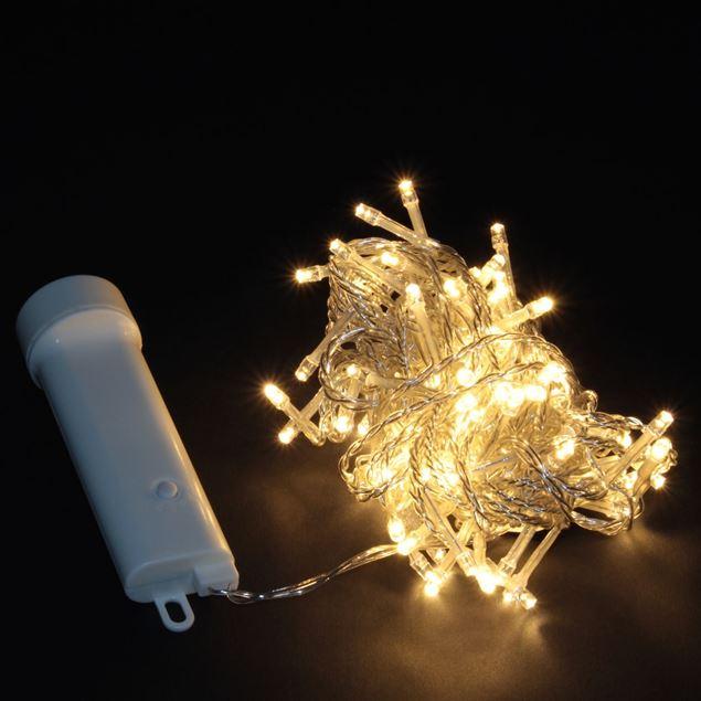 Image de Guirlande lumineuse à piles LED blanc-chaud transparent 48 lumières / 3.5m