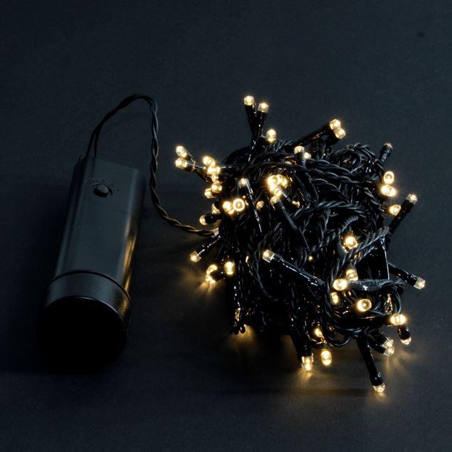 Bild von Batterie-Lichterkette LED warmweiss schwarz 96 Lichter / 7.1m / Transparent