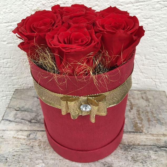 Image de Boîte à roses – ronde, en rouge, avec 6 roses véritables, stabilisées, en rouge
