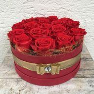 Bild von Festliche Rosenbox - rund, in rot, mit 17 roten, echten, stabilisierten Rosen  Ø ca. 24 cm