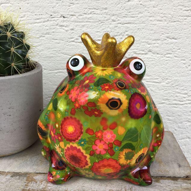 Cooler Keramik-Frosch, rot-grün mit Sonnenblumen