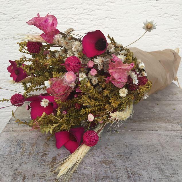 Trockenblumen Strauss Bund mix in pink-weiss © by Leutwyler Floristik Luzern