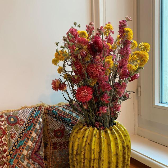 Trockenblumen Strauss gemischt Pink & Gelb Ø ca.22 cm H ca.45 cm