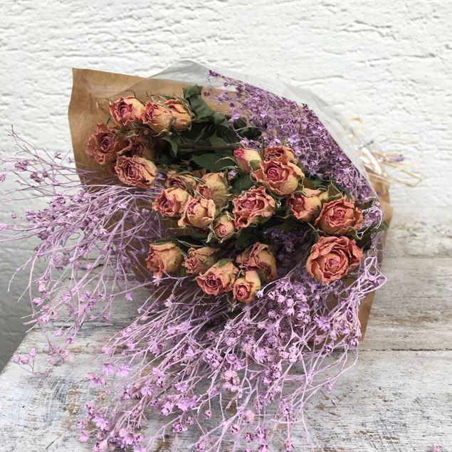 Trockenblumen Strauss Polyantha-Rosen mit Deco