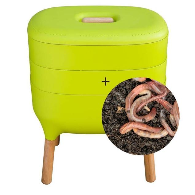 Wurmkomposter grün mit Wurmgutschein