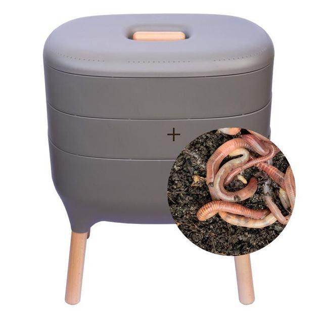 Wurmkomposter grau mit Wurmgutschein