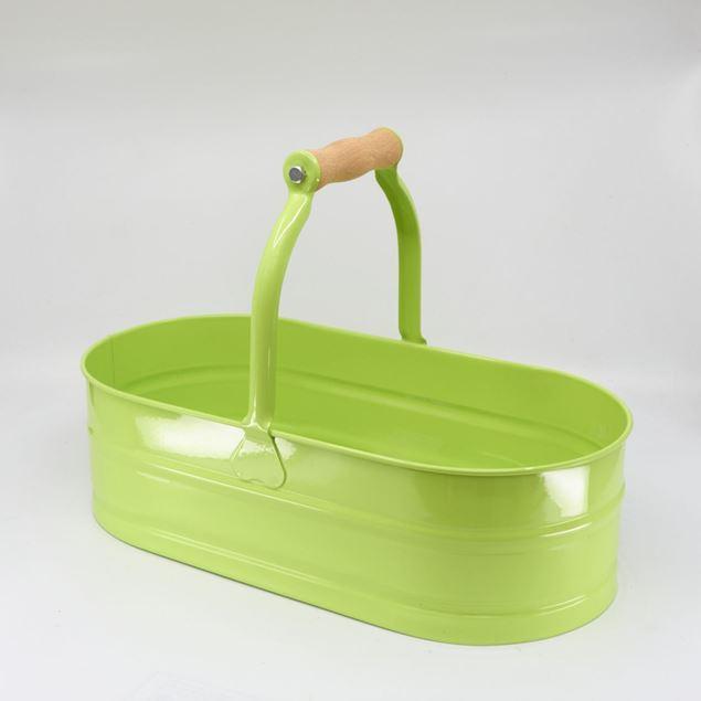 Image de Vasque ovale 'manche bois' 4l Vert jaunâtre