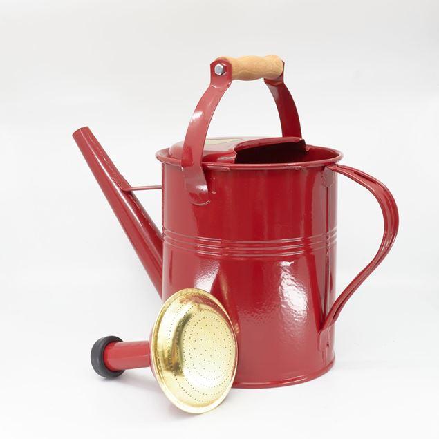 Image de Arrosoir 5l 'manche bois' rouge rubis