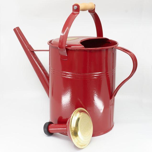 Image de Arrosoir 9l 'manche bois' rouge rubis