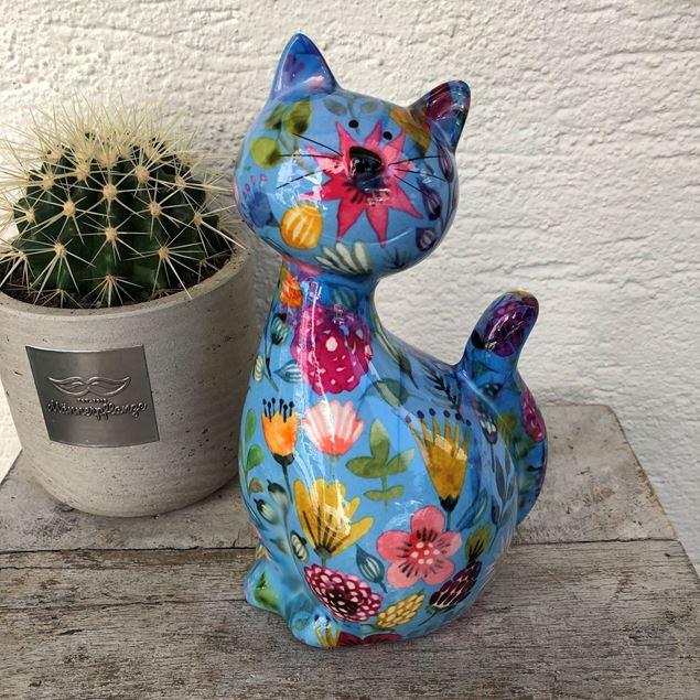 Keramik-Katze blau mit bunten Blumen