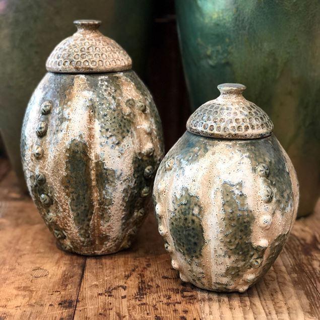 Keramikvase Klein mit Deckel H 25cm, Ø 15cm
